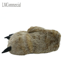 Warm winter home slippers / paws leopard claw Plush bag with cotton shoes (light brown).