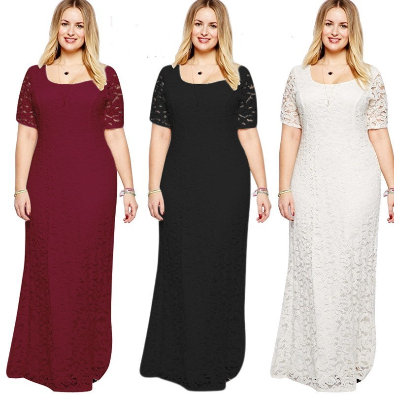 Lace Evening Dresses CG00041 Women Cheap Long Short Sleeve A-line Burgundy Plus Size Evening Party Gowns Abendkleider 2019