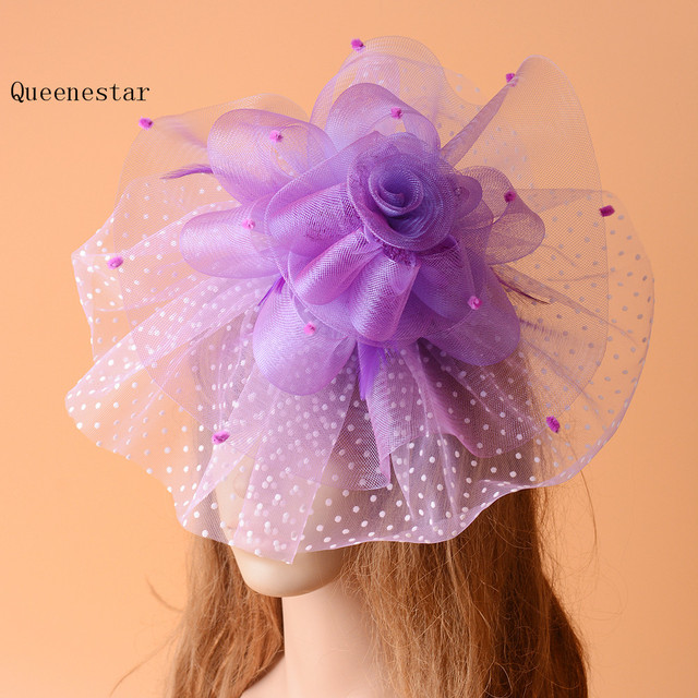 1d37664b78e Wedding Dot Hair Clip Bride White Purple Flower Pillbox Hat Headpiece Fancy  Party Dinner Vintage Ladies Mesh Hair Accessories
