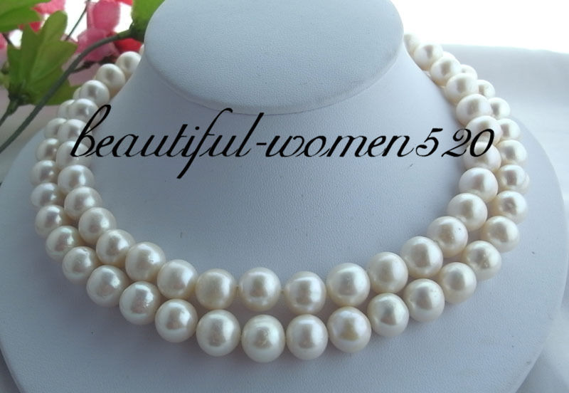 Z1879 2row 12mm collier de perles rondes blanches fw 925 argentZ1879 2row 12mm collier de perles rondes blanches fw 925 argent