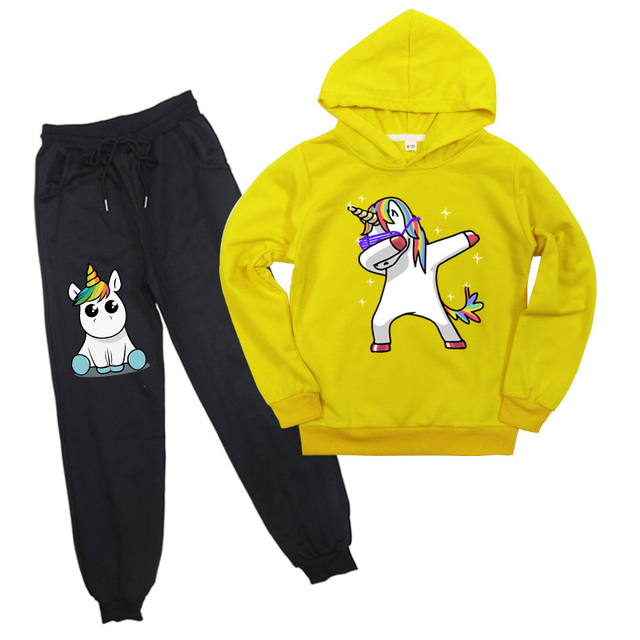 Kids Clothing Cartoon Unicorn Hoodie Set Funny Pullover Hooded+Sweatpants Set for Boys and Girls