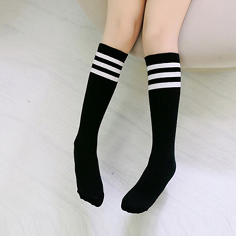 Babys Girls Socks Boys Knee High Socks Long Leg Warmer Football Strips Cotton School Soccer Boots White Sport Socks