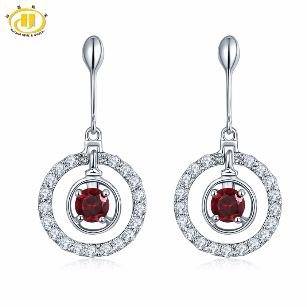 цена Hutang Natural Red Garnet Dangle Drop Earrings Solid 925 Sterling Silver Round Gemstone Fine Jewelry Trendy Style For Women в интернет-магазинах