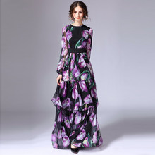 3162be1ff490 HIGH QUALITY New Fashion 2017 Designer Maxi Dress Women s Long Sleeve  Gorgeous Floral Printed Cascading Ruffle Long Dress