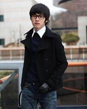 Серый черный зима двубортный шерстяное пальто мужские плащи тонкий повседневная пальто для мужская мода гороха пальто S-3XL