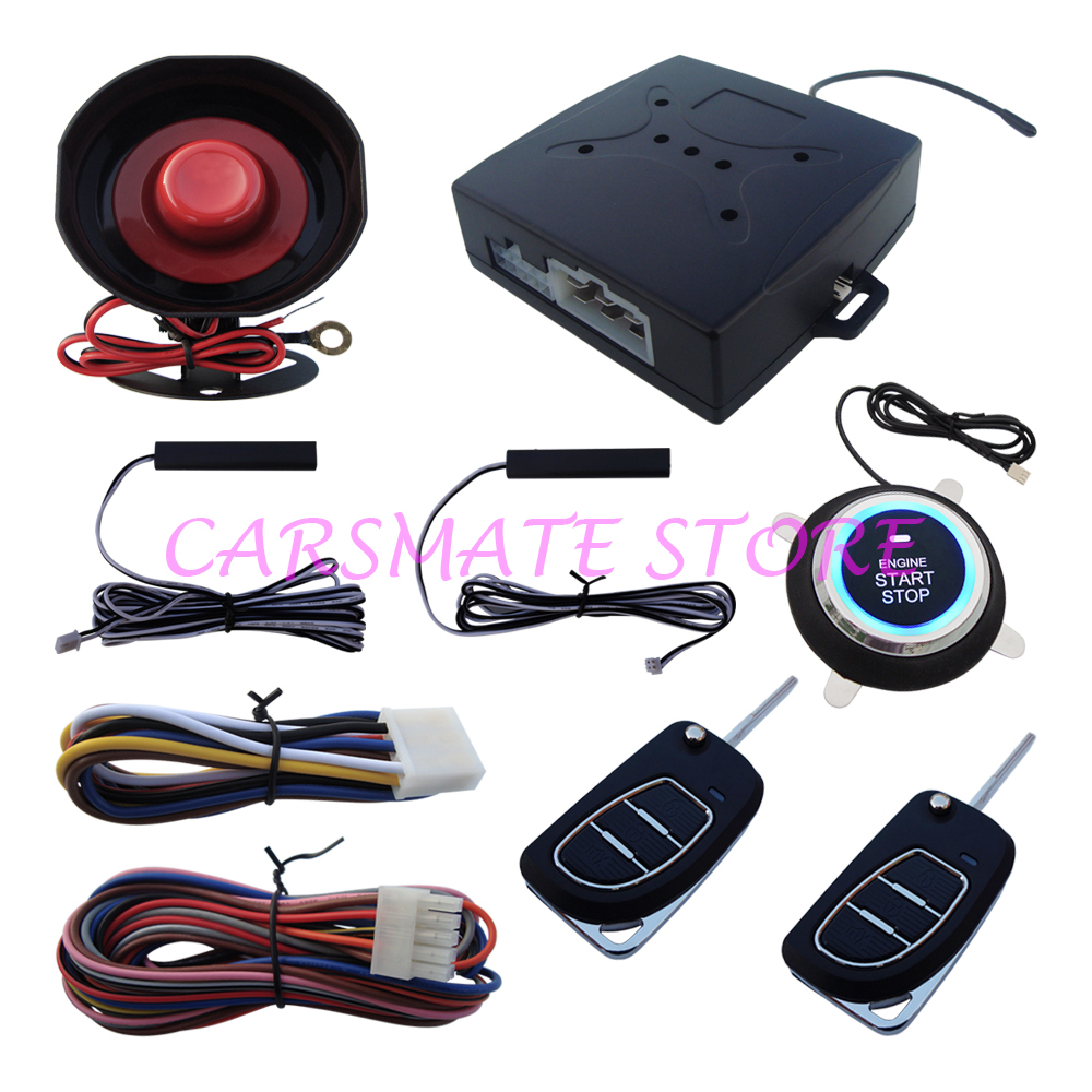 Smart key pke car alarm system with flip key remote controls many key blades are selectable