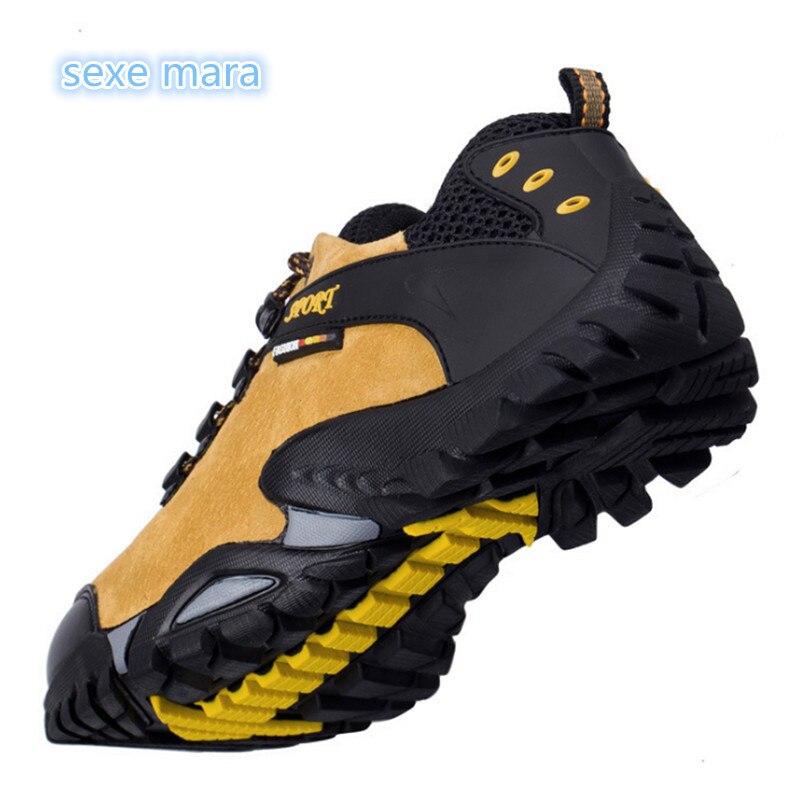 2018 אמיתי עור חיצוני ספורט נעלי גברים סניקרס גברים מותג ריצת נעלי טרקים אנטי-החלקה מחוץ לכביש מאמני הליכה