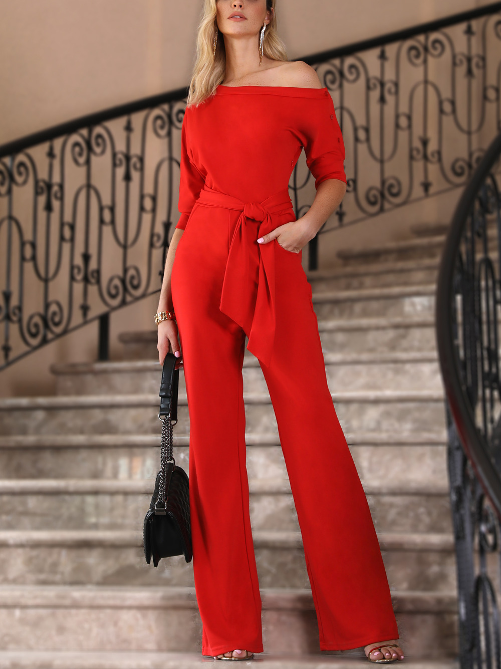 2018 New Fashion Summer Women Stylish Plus Size XXL Casual Elegant Office Jumpsuit Solid One Shoulder Tied Waist Flared Jumpsuit