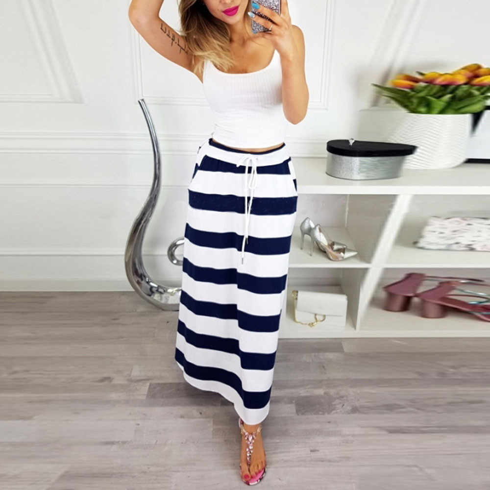 669f0804ecd Прямая поставка 2018 Новое поступление Лидер продаж женские модные юбки в  полоску высота талии Длинная юбка