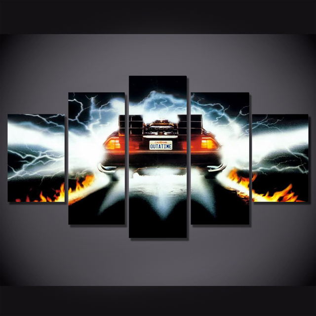 5Piece Wall Art Picture Back To Future Poster Car Canvas Art Posters Printed Home Decor Game Picture For Living  Room