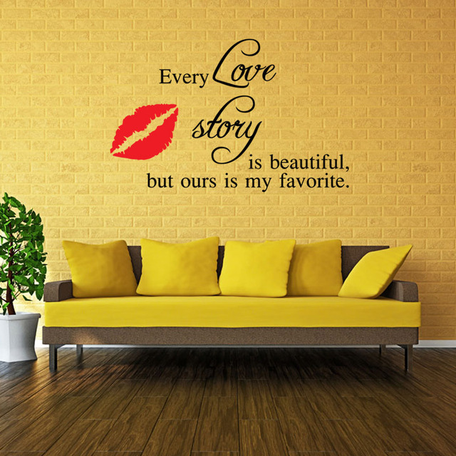 English letters 3D wallpaper wall stickers red lip living room ...
