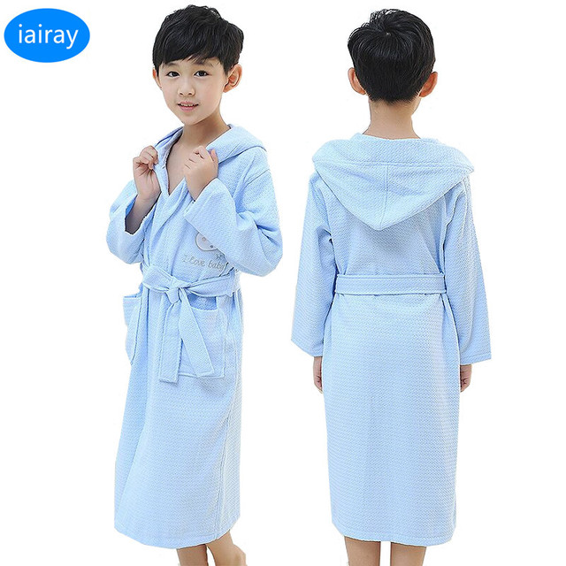 iAiRAY cotton pajamas for boys hooded bathrobe for children kids bath robes  long robe child sleepers kids sleepwear 4-12 years 90a5337f9