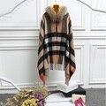 Мода плед женщин кашемир мыс пальто с реального ракун меховой отделкой воротника, горячие продажи невесты платки, женский пашмины