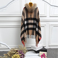 Fashion plaid women's cashmere cape coat with real raccoon fur trim collar, hot selling bride shawls, female pashmina
