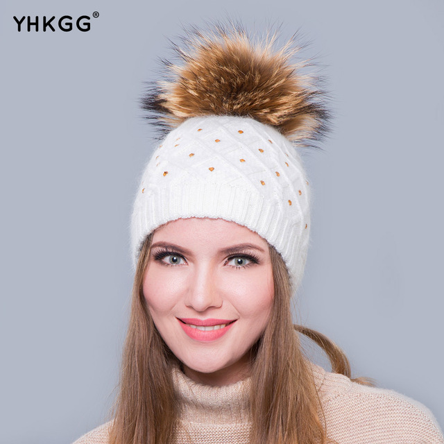 2016 Big Real Raccoon Fur Pom Pom Hat wool hat with hot drilling Double warm with lovely hair bulb
