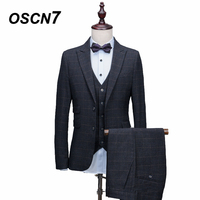 OSCN7 Plaid Tailor Made Suit Men 3 Piece Fashion Business Custom Made Dress Suits for Men New Casual Ternos Masculino