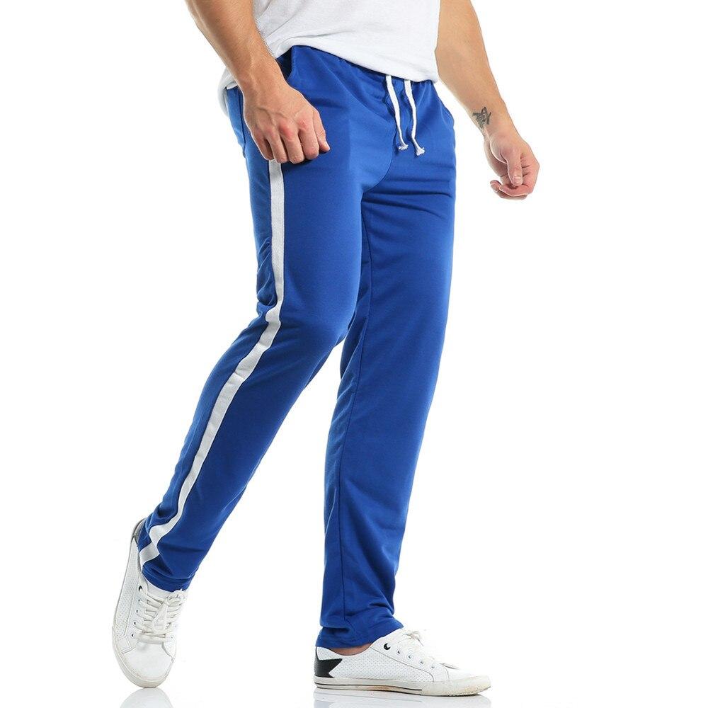 2018 Autumn Men's Casual Straight Sweatpants Men Basic Trousers Tracksuit Side Stripe Bottoms Fitness Sportswear Track Pants