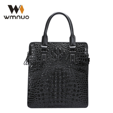 Wmnuo Men Handbag Crocodile Pattern Cow Leather Man Shoulder Messenger Ipad Bag 2018 New Fashion Men Crossbody Business Bag 6072 yuanyu 2017 new hot free shipping crocodile leather men bag luxury single shoulder bag business leisure travelers men handbag
