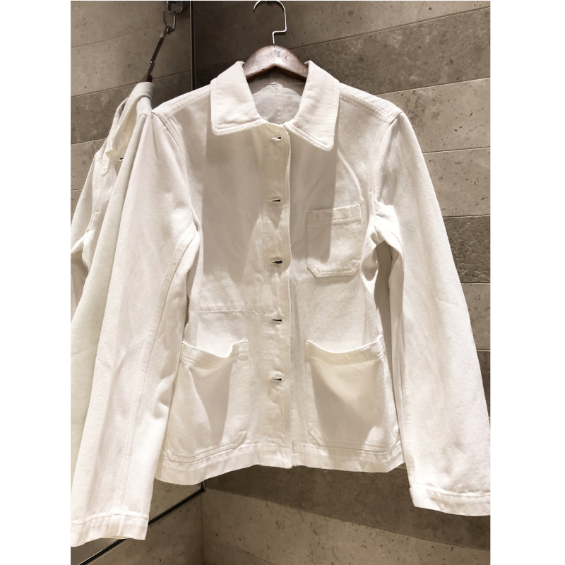 2019 autumn new coat white Bee embroidery long sleeved short denim jacket casual denim jacket high
