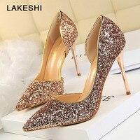 Phụ nữ Bơm Bling Cao Gót Phụ Nữ Bơm Glitter Cao Gót Giày Người Phụ Nữ Sexy Wedding Party Shoes Vàng Bạc