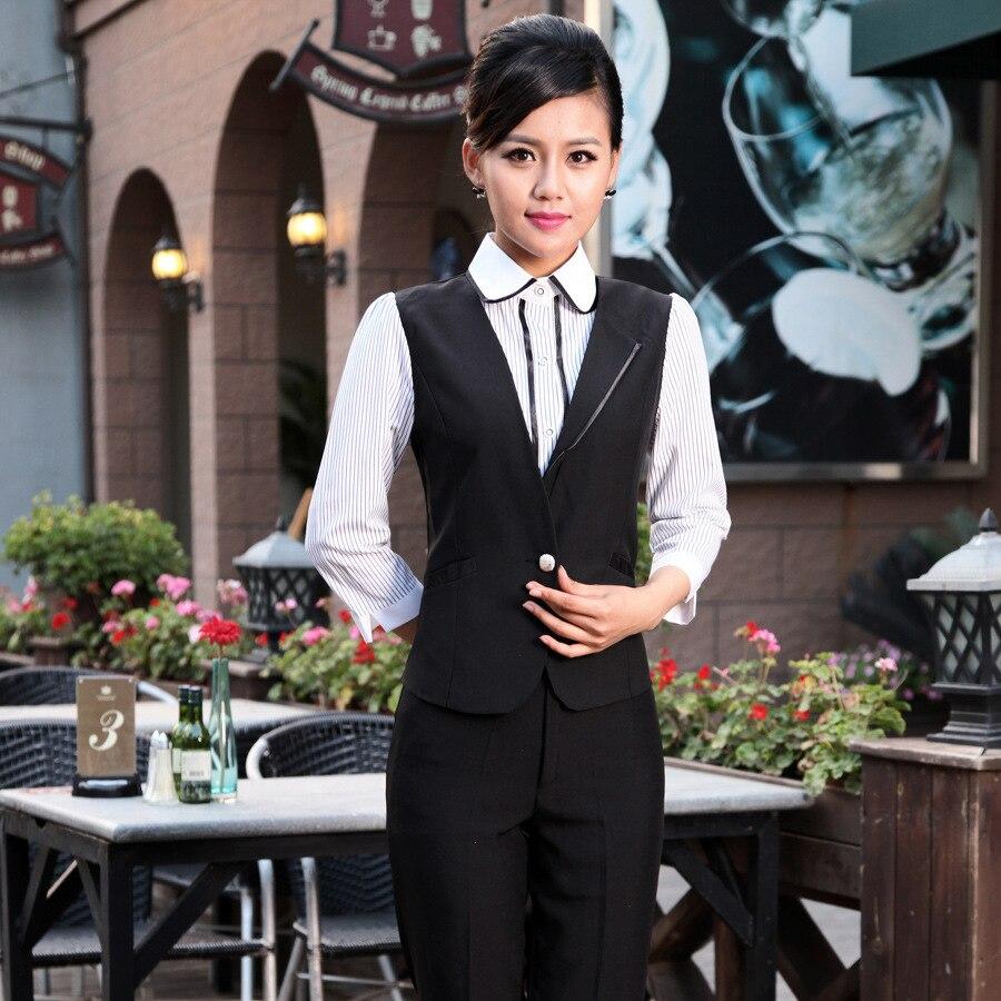 Hotel Overalls Autumn Waitress Restaurant Uniform Front Desk Cashier Work Wear KTV Vest Long-sleeved Waiter Fake 2 Pcs H2408