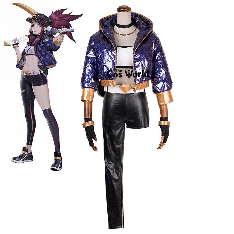 LOL KDA Girl Group The Rogue Assassin Akali Tube Tops Coat Pants Uniform Outfit Games Cosplay Costumes