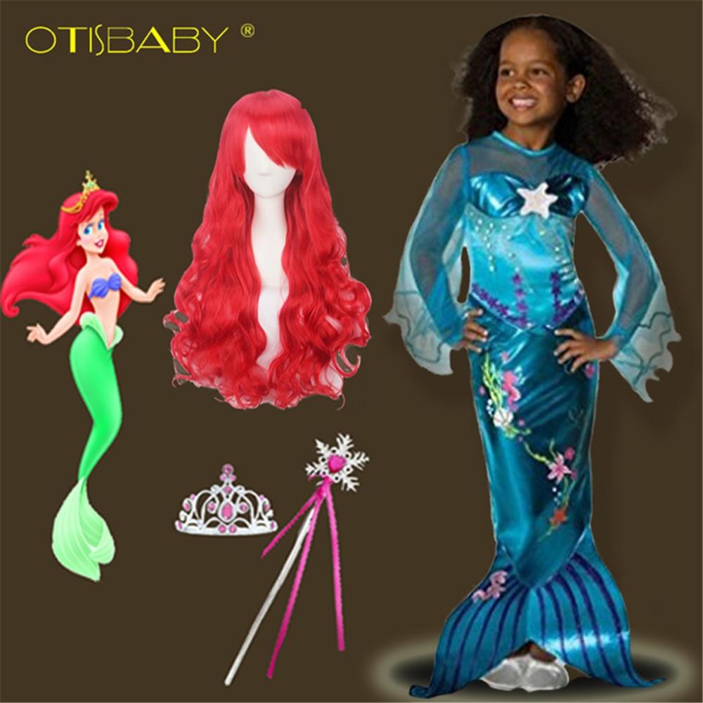 2018 Summer The Little Mermaid Ariel Princess Dress Halloween Easter Cosplay Costume Mermaid Red Wig Beach Dress Sequins Party 2017 newest ariel cosplay costume princess the little mermaid cosplay dress