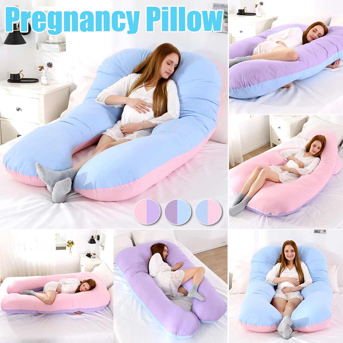 Extra Large Pregnancy Pillow Maternity Belly Contoured Body U Shape Cotton Cover