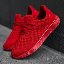 2019 Summer Mens Casual Shoes Breathable Mesh Sneakers Red Black Shoe Lace-up Rubber Sole Zapatos De Hombre Plus Size 39-48