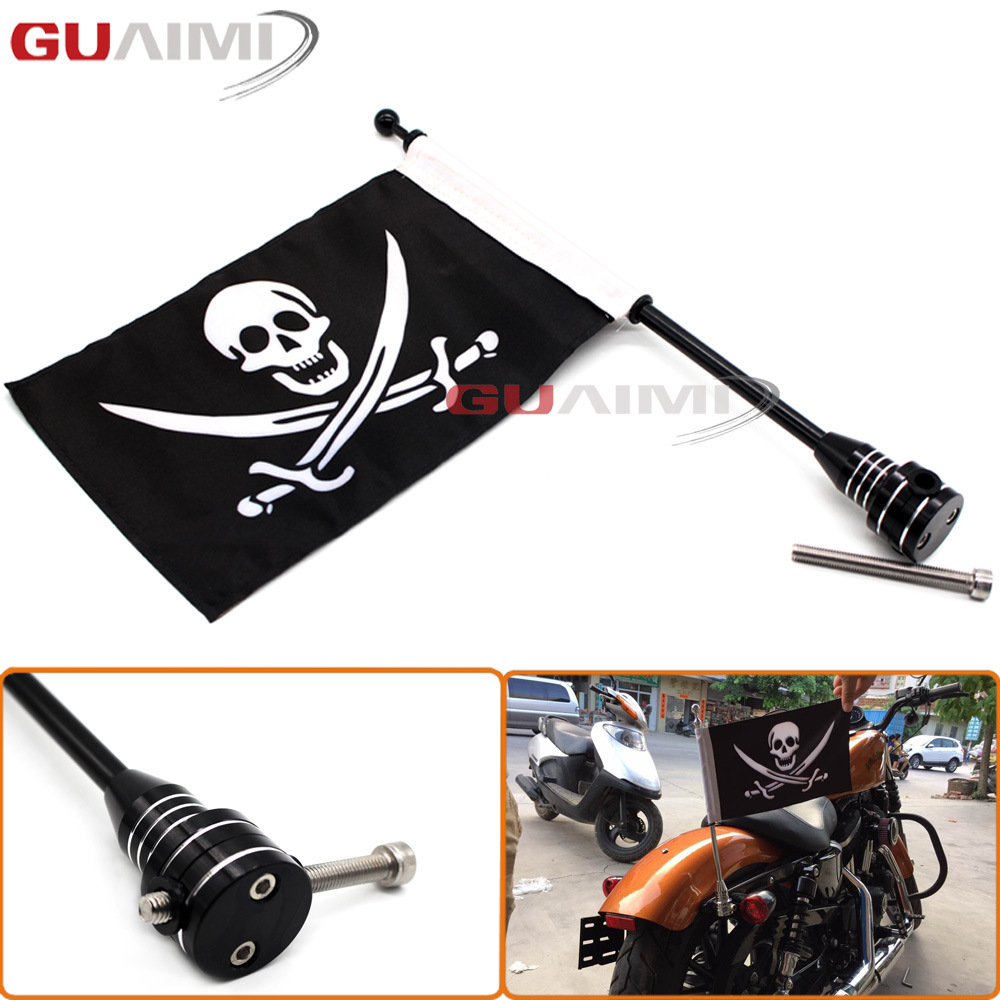 For Harley Sportster XL 883 1200 48 Black Motocycle CNC Aluminum Rear Side Mount Luggage Rack Vertical Flag Pole Pirate motorcycle rear side mount luggage rack vertical pirate flag pole for harley sportster xl883 xl1200 touring road king glide flht