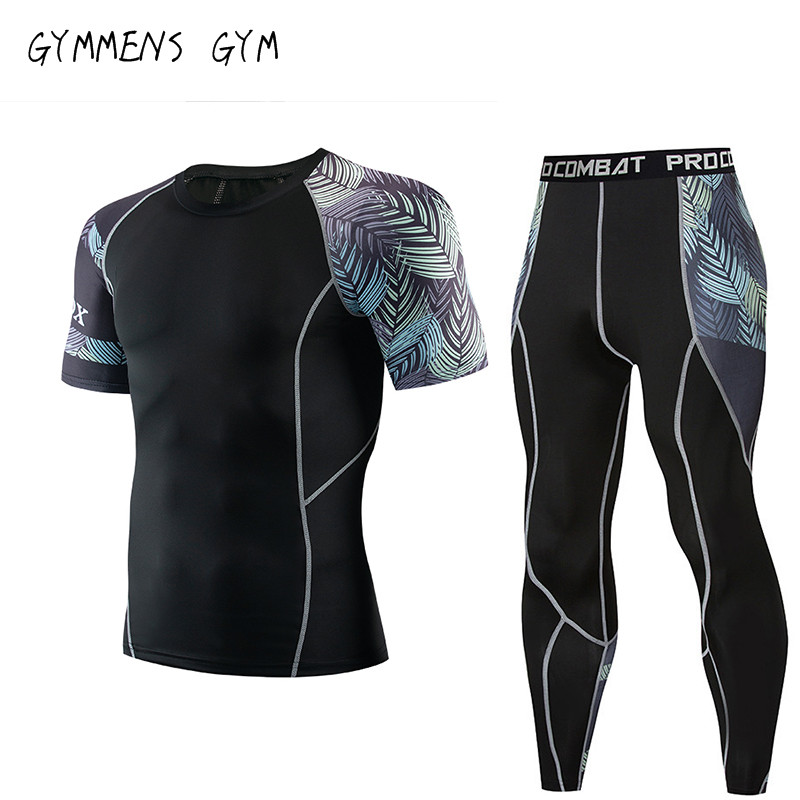 2019 Fitness MMA Compression Shirt Men Rashguard Men's Short-sleeved T-shirt Bodybuilding Men's Printing 3D T-shirt Top