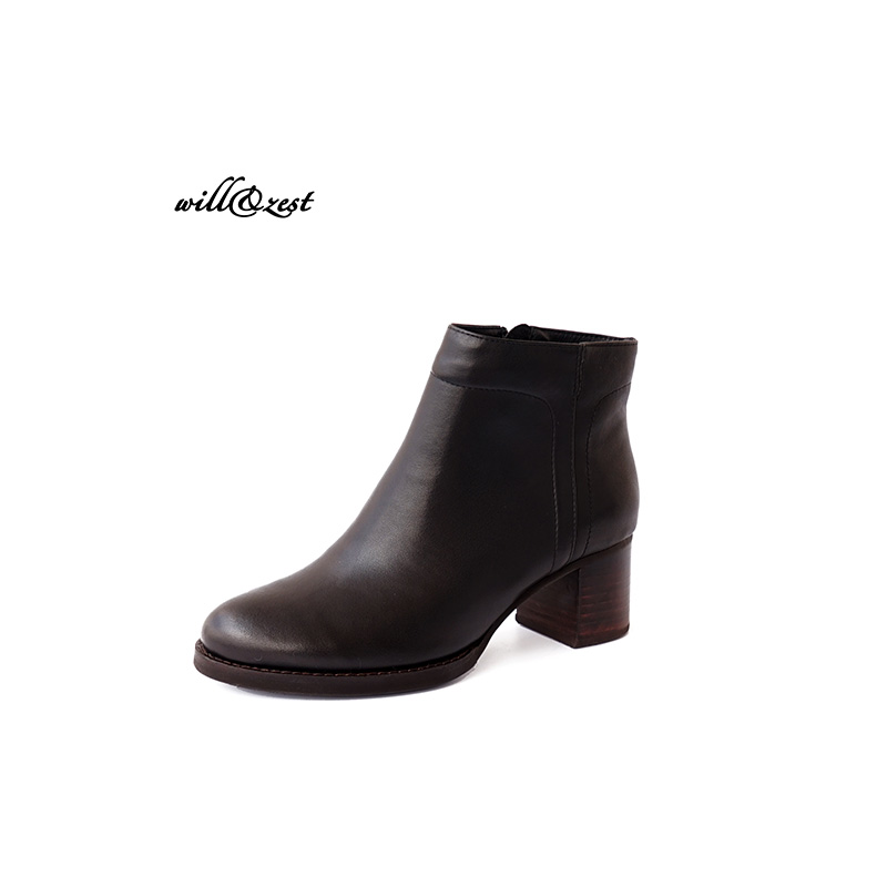 Chic Retro  Genuine Leather Round Toe Kitten Heels Ankle  Zip short  boots Vintage  Women's Shoes kitten heels