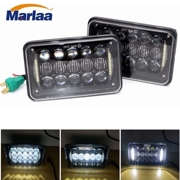2PCS 4x6 inch Square LED Headlights 6000K Sealed Beam Rectangular Headlamps High Low Beam DRL For H4651 H4652 H4656 H4666 H6545