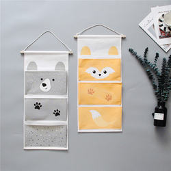 Cartoon Animal Storage Hanging Bag 3 Pockets Jewelry Kids Toy Kitchen Bedroom Sundries Organizer Wall Door Wardrobe Hanging Bag