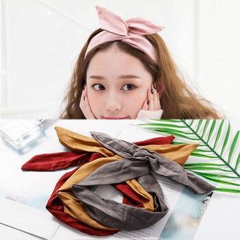 2018 New Fashion Women Suede Solid Bow Knot Headbands Bandanas Girls Headwear Vintage Hairbands Turban Female Hair Accessories