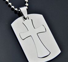 cheap Christian Necklace in Puzzle Cross Dog Tag Design In Stainless Steel hot sales bible cross dog tags necklaces