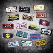 Cartel de arte Retro de Metal de decoración de pared para el hogar, barra de señal de lata Vintage, placa de coche para lavandería
