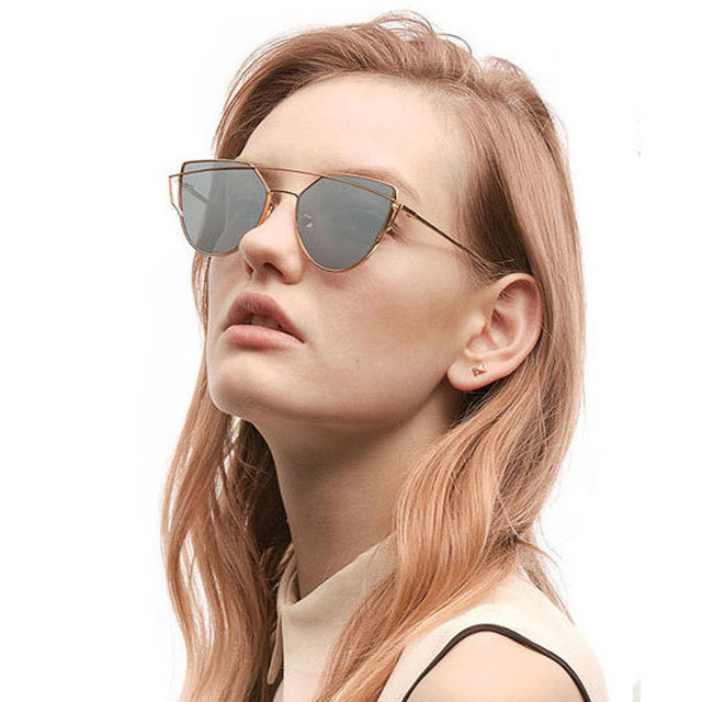 59a2d1ab13 Rose Gold Mirror Cat Eye Sunglasses Women Original Unique Luxury Alloy Twin- Beams Sun Glasses UV400 Gafas de sol lunette femme