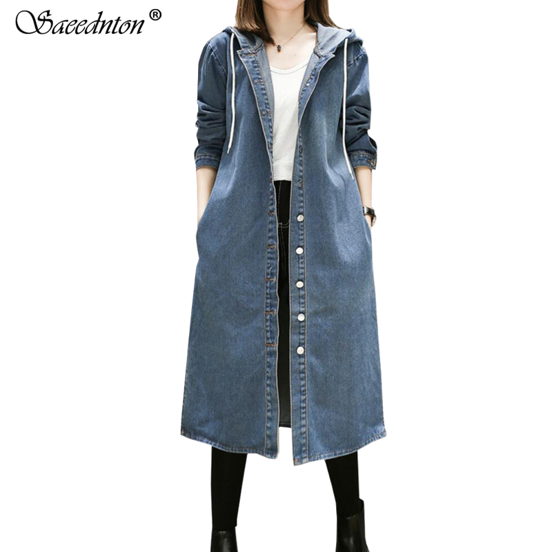women Long Hooded   Trench   Plus Size 5XL 2019 New Spring And Autumn Long-sleeve   Trench   Coat Female Long Denim Windbreaker Coat