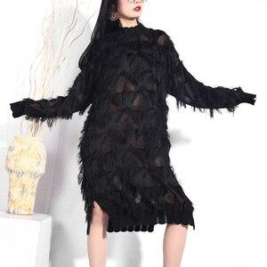 Image 3 - [EAM] 2020 New Spring Autumn Stand Collar Long Sleeve Black Perspective Split Joint Big Size Dress Women Fashion Tide JI78