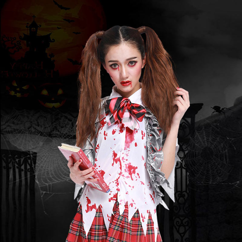 Supply New Halloween Red Trellis Student Teacher Uniform Party Costumes Stage Performance Clothing Youth Campus Breeze L18621125 Women's Costumes