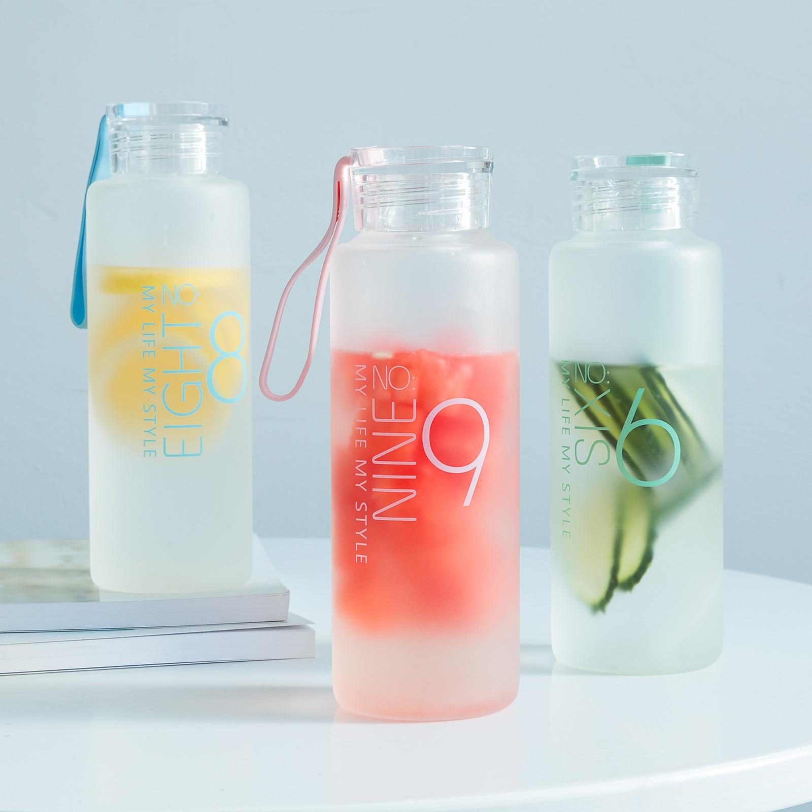 Botella de agua de vidrio esmerilado de Baispo contenedor de agua saludable botella de agua de limón de verano botellas de bebida para Picnic al aire libre hogar