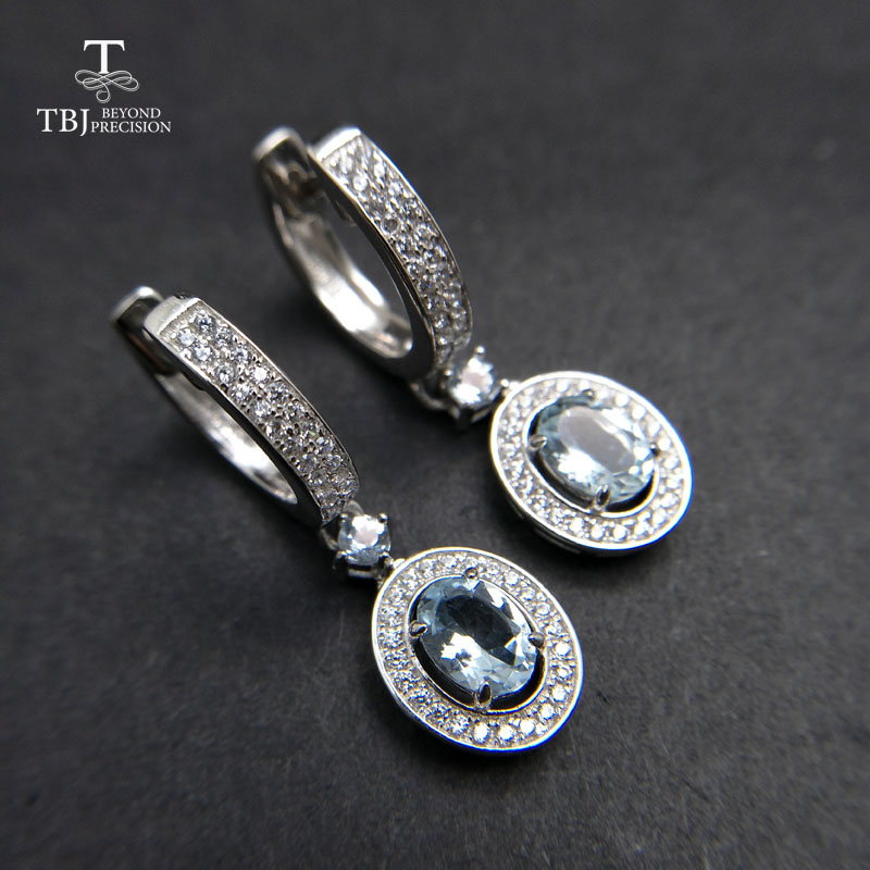 TBJ,2018 new classic clasp earring with natural brazil aquamarine gemstone jewelry in 925 sterling silver for anniversary gift tbj 2017 clasp earring with natural brazil aquamarine in 925 sterling silver jewelry natural gemstone earring classic design