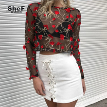2017 Women's Long Sleeve Tops T Shirt Femme Sexy Hollow Out Female Mesh Floral Embroidery Crop Top Tees Ladies Vintage T-Shirt