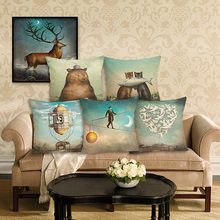 2016  New Arrive Hot Selling Classical Printing Linen Cotton Cushion Cover Throw Pillow Sofa Cojines