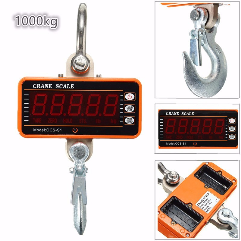 Colgando Básculas digital 1000 kg 2000lbs LCD grúa Básculas alta precisión Heavy Duty