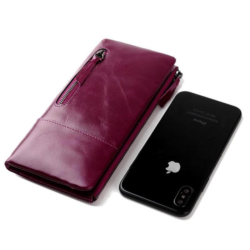 Luxury Wax Oil Genuine Leather Women Wallet Long Zipper Women Leather Purse Famous Brand Wallet Female Coin Purse Card Holders