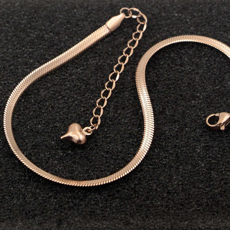 Fashion Simple Flat Snake Bone Chain Rose Gold Anklet Titanium Steel Women Feet Jewelry Anti-allergic