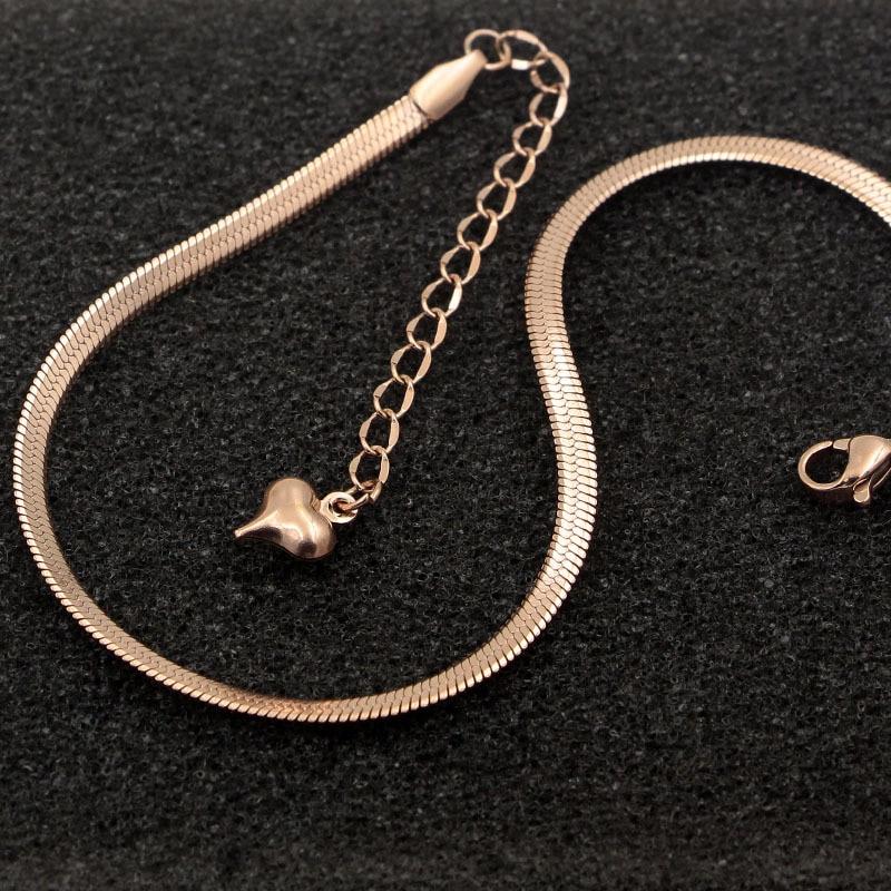 Fashion Simple Flat Snake Bone Chain Rose Gold Anklet Titanium Steel Women Feet Jewelry Anti-allergic