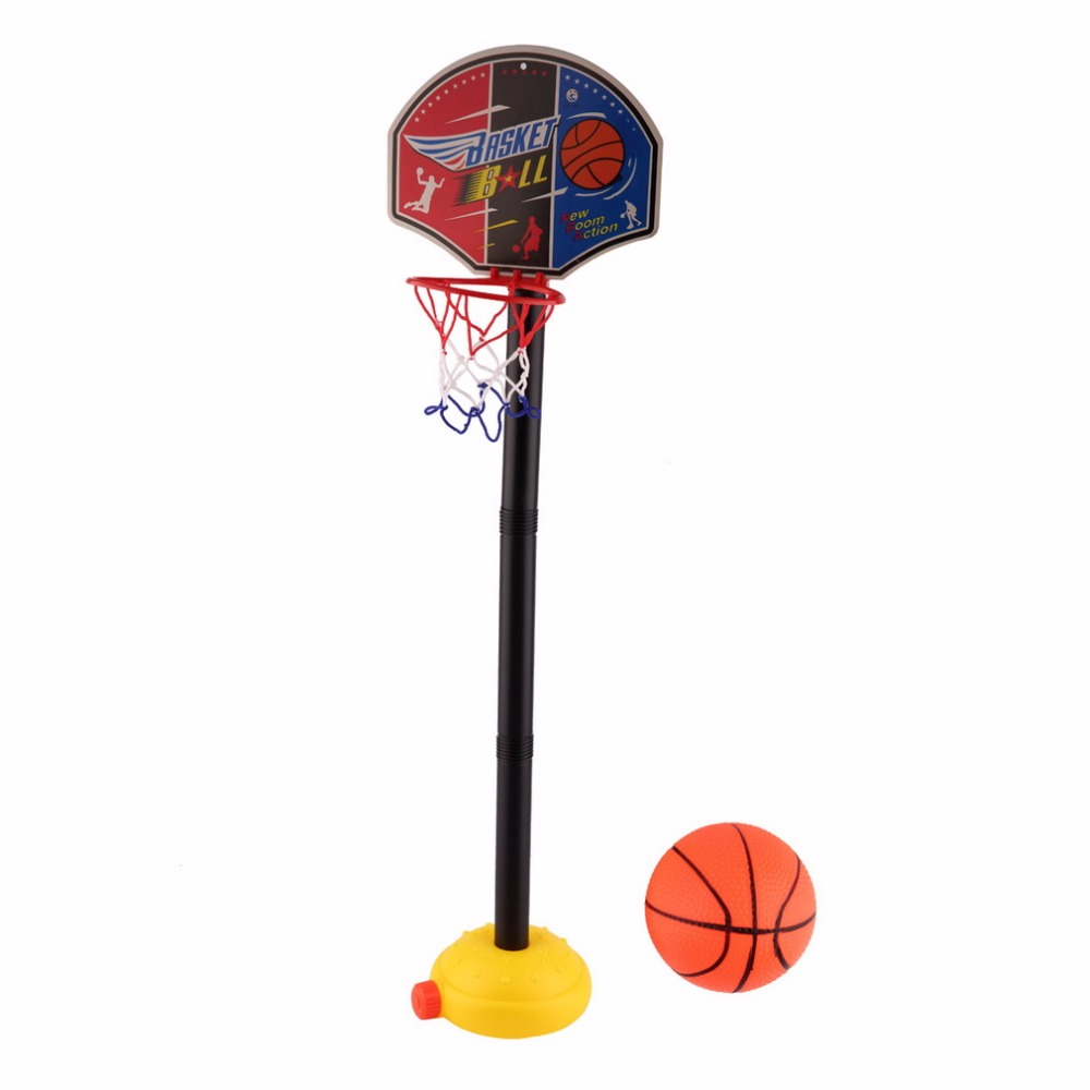 Kids Toys Basket Basketball Stand Child Toy Ball Inflatable Pump Set Adjustable Children Miniature Sports Outdoor Toddler